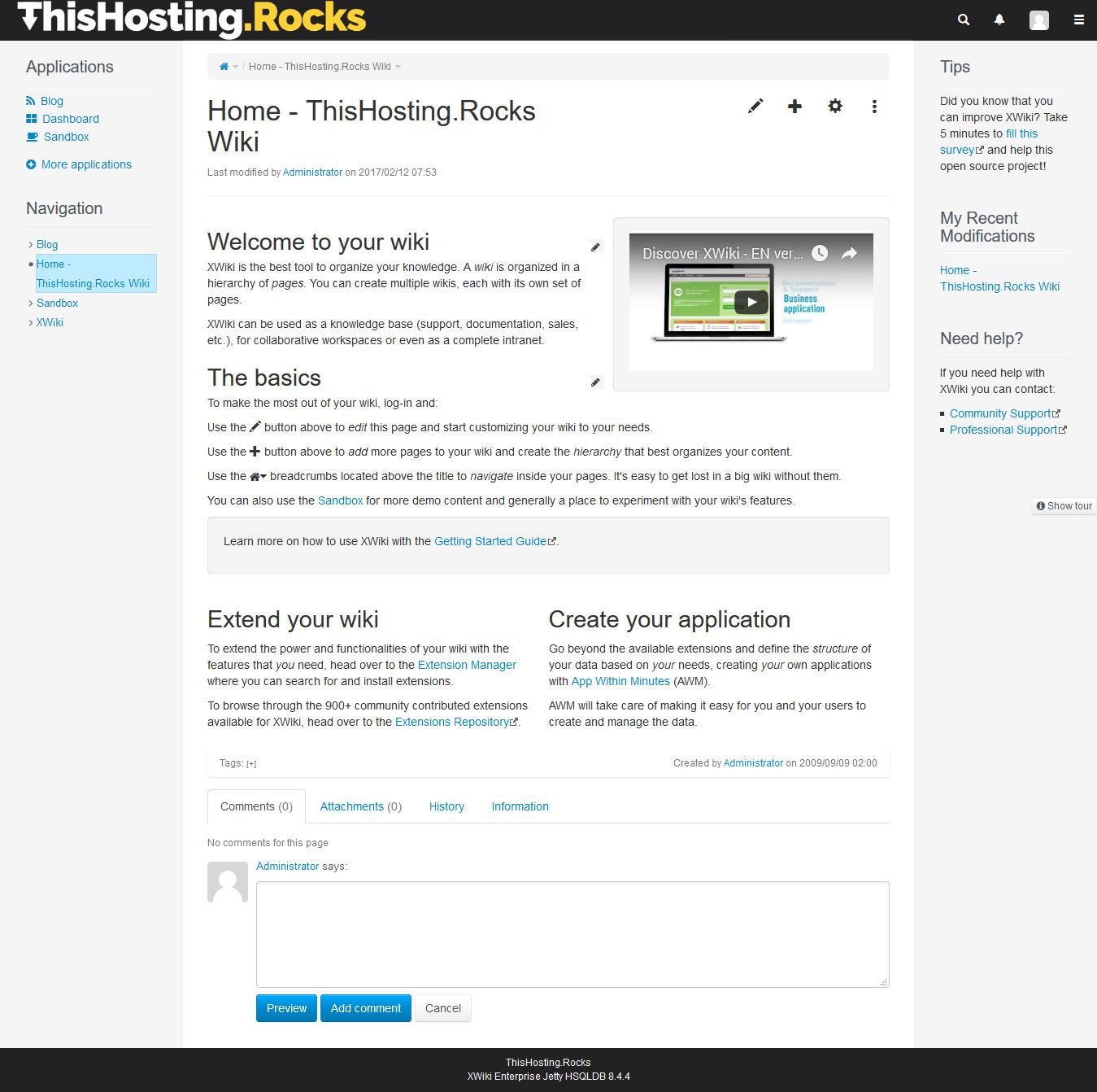 xwiki start page