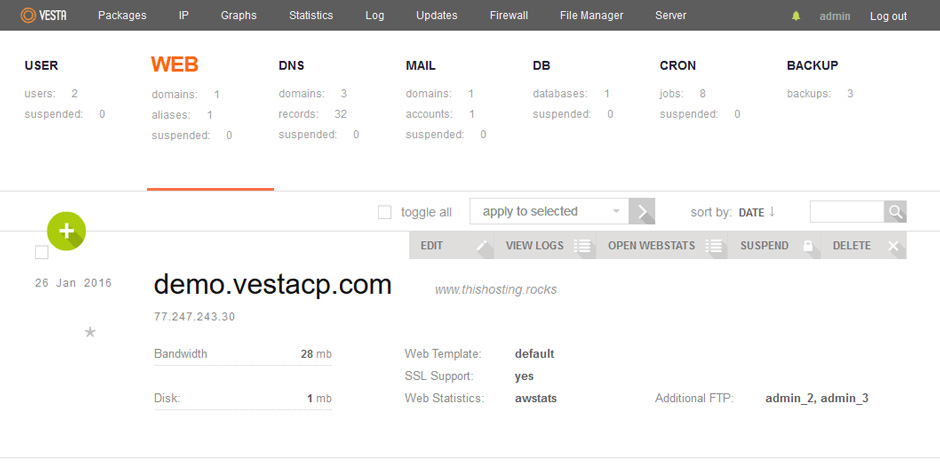 vestacp screenshot