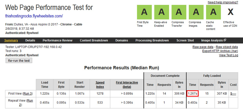 flywheel speedtest
