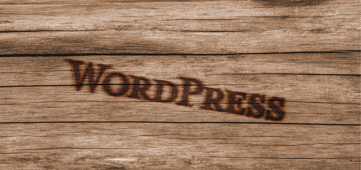 WordPress burnt on wood
