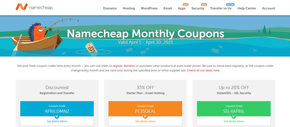 namecheap coupons page